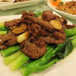 Stirred fry beef with Gai Lan. Lovely smokey and aronmatic 'wok-hay'