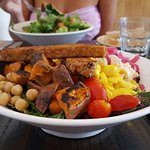 AMAZING. Cobb Salad, Caesar Salad, Pulled Jackfruit & BBQ Tempeh Wings Sandwiches, Cowboy Cookie