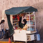 A kiosk just around the corner from the hotel.