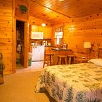 Inside of one of the Cozy Cabins