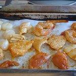 grill de poissoins, Saint-Jacques, Calamars
