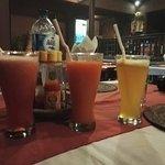 Papaya, watermelon and orange juices