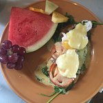 Cute!!! Veggie eggs Benedict.