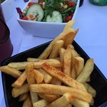 Fries and side salad