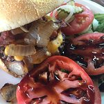 Ted's Bacon Cheeseburger with Basmati glazed tomatoes for the side.