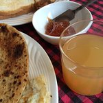 Breakfast with local apple juice and jam