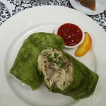 Breakfast Wrap - Scrambled eggs, sausage, mushrooms, potatoes & cheddar cheese Served with salsa
