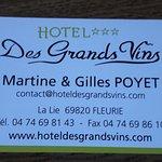 carte de l'hôtel pour réservation