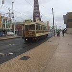 Nostalgic olde tram running from north pier to south pier regular service