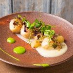 Hand Dived Scallops with Smoked Apple