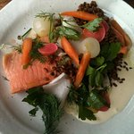 Ocean trout with crispy crunchy veg and cream reduction