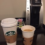 self serve hotel restaurant coffee on right -- charge $3.50 vs. a vent at starbucks for $2.98.