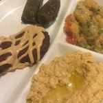Falafel and Sampler Veggie Platter.