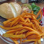 Hamburger with sweet potato fries