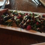 This is the organic beet salad and the elephant ear with Nutella dessert. Delicious!!