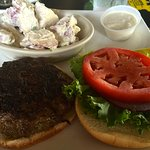 Black & Bleu burger with potato salad