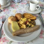 Great Jamaican breakfast of ackee fish - delicious