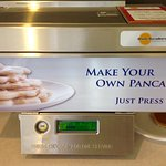 We had never seen one of these before. Complimentary breakfast. Pancakes were delicious!
