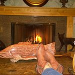 Relaxing in front of the fire, it was cozy but really not cool, we had a warm day in Firbanks, A
