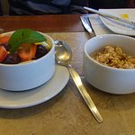 Fresh fruit and Granola at Breakfast