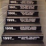 Cool staircase timeline of acts who have performed here.