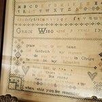 Wing Fort House-Grace Wing, age 9 in 1769 cross-stitch-Sandwich, MA
