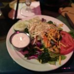 Colorful interior, cams tones in creamy chipotle sauce, fresh salad