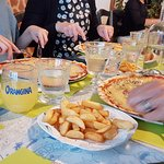 Orangina, pizza and chips