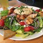 Mediterranean chicken salad & jambalaya pizza delish both of them!