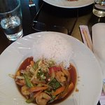 Prawns with stir fry vegetables and rice