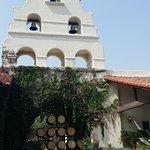 Bell tower over vineyard