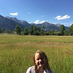Abby in front of Willows that look into Grand Tetons with moose, elk, deer, wolves & more!