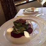 Spinach,Beet Carpaccio, Goat Cheese Salad