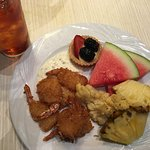 Coconut Shrimp with Fresh Watermelon and Pineapple