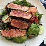 Blackened Ahi Tuna with wasabi dressing. Very healthy, fresh and tasty.