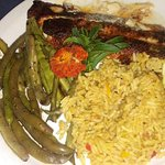 Fish of the Day. Blackened Trout with Garden fresh Green Beans and Rice Pilaf