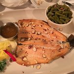 Red trout with almonds and prime rib end cut. Both excellent.