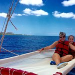 Wife and younger daughter on the open seas.