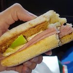 Warm ham, cheese and apple