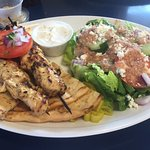 Chicken soulvaki - very good - but the lamb was better. If you don't eat lamb, you will like thi