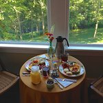 Breakfast in our upstairs guest room!