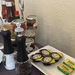 The selection of condiments at breakfast