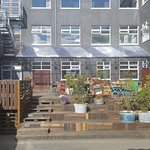 outdoor patio of Kex hostel