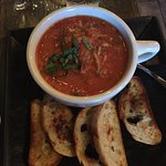 Lahvosh with artichoke hearts and sundried tomatoes and Gazpacho soup