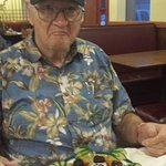 We came from Florida to treat dad to dinner ANYWHERE he wanted. They surprised  him with a cake,