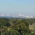 View of Durban sea front from edge of grounds