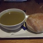 Broccoli soup and small ciabatta roll