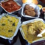 vegetable basmati rice, butter chicken, samosas and saffron chicken
