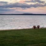 """Back yard"" and beach area behind the hotel from our veranda; Mackinac Island at sunset"
