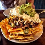 """This is the """"small"""" nachos - serves 2 as a full meal"""
